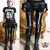 Punk emo HALFTONE Skeleton X-Ray Legging WHITE LEG BONE