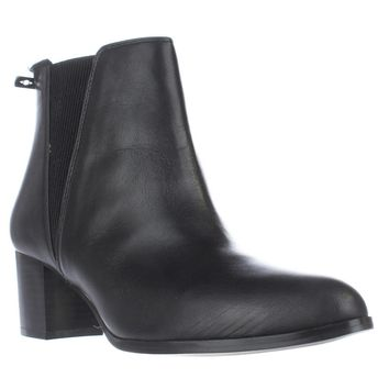 A35 Vitaa Rear Zip Ankle Boots, Black Leather, 9 US