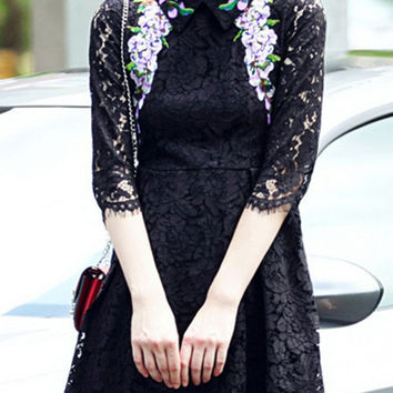 Black Floral Embroidered Lace Dress