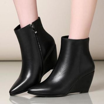 Genuine Leather Wedge Heels Boots | Pointed Toe Ankle Boots