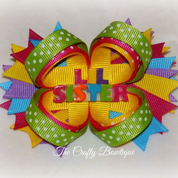 Lil Sister ~ Layered Bow with Spikes ~ Hot Pink, Green, Blue, Purple & White ~ Sisters Hair Bow ~ Bright and Colorful Bow ~ Polka Dots