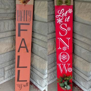 Holiday Reversible Porch Sign, Hand Painted Wood Sign Let it Snow & Happy Fall Y'all