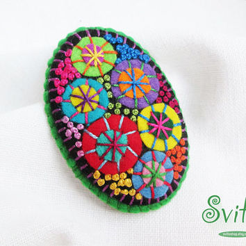Brooch Textile Firework | Felt Brooch | Textile Art Jewelry | Idea for Gift | Creative Original Unusual Pin | Green Color Base
