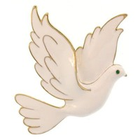 "2 X 2.5"" Enamel Dove Of Peace Pin, Glamour! In White with Gold Finish 