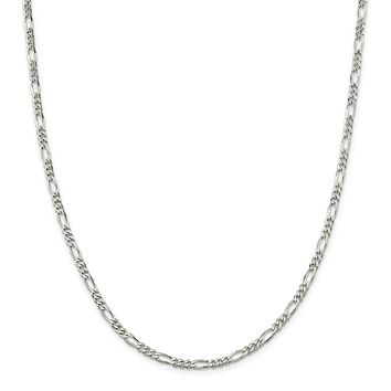 925 Sterling Silver Rhodium-plated 4mm Figaro Chain Necklace, Bracelet or Anklet