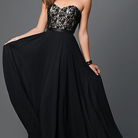 Black Strapless Dress with Corset Back