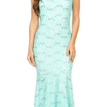 Cap Sleeve Lace Sheath Mermaid Dress Mint/Ivory High Neck
