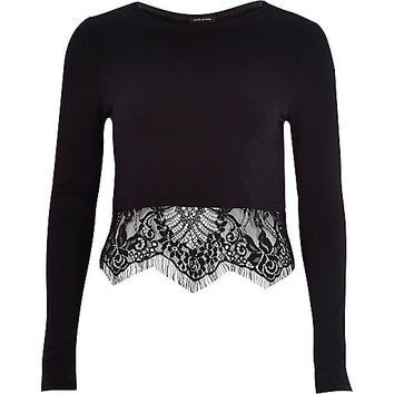 Black long sleeve lace hem t-shirt - t-shirts - tops - women