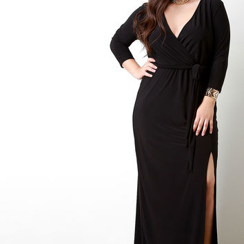 Surplice Wrap Quarter Sleeves Slit Dress