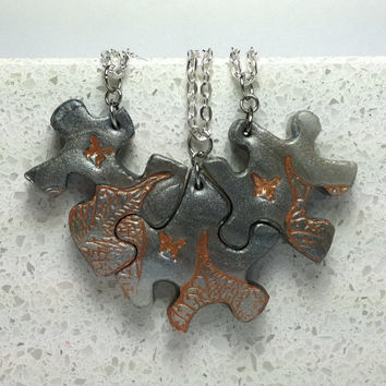 Best Friend Puzzle Necklace Set Puzzle Necklace Set 3 Necklaces Polymer Clay Set 161