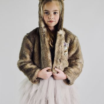 DOLLY by Le Petit Tom ® WOLF fur hooded jacket with ears mixed brown