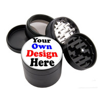 "- YOUR OWN DESIGN - 2.25"" Premium Black Herb Grinder"