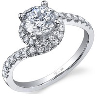 Sylvie Bypass Halo Engagement Ring Steven Singer Jewelers