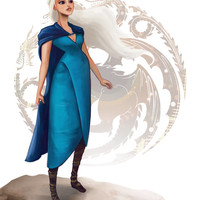 Daenerys Targaryen (Dany, Khaleesi) from GAME OF THRONES (Song of Ice and Fire) art print, signed by Leann Hill