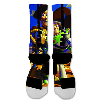 Toy Story Buzz Lightyear & Woody Nike Elite Socks Custom  Fast Shipping Ships out in 1-2 days