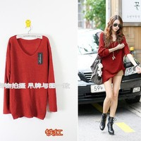 Korean Fashion Large Loose Bat Knitted Autumn Sweater Jacket Tops Five Colors