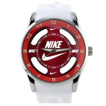 Nike Popular Ladies Men Quartz Watches Wrist Watch White Strap Red Dial I