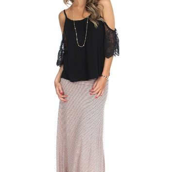Stripe Foldover Maxi Skirt Peach