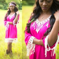 Fringed In Fuchsia Dress