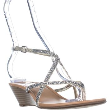 I35 Mayca2 T-Strap Wedge Sandals, Champagne, 8 US