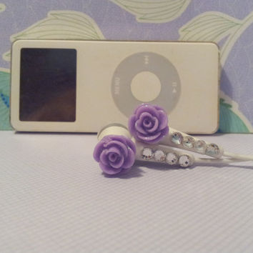New Frosted Purple Rose Earbuds with Swarovski Crystals