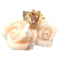 Christian Dior Pre Catalan White Coral Pink Sapphire Diamond Gold Rose Ring