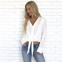 See The Light White Knot Blouse