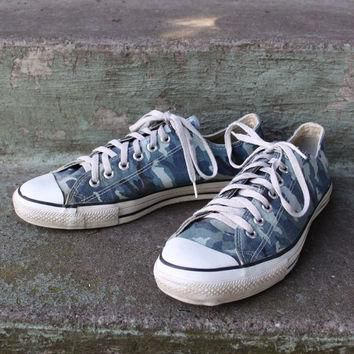 Vintage 80s Converse Chuck Taylor Blue Camo SNEAKERS Camouflage 10 1980s