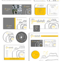 Photography business forms kit and marketing set sketched heart bird camera grey, yellow and white - all editable psd files