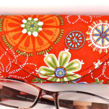 Reading Eyeglass Case with Magnetic Closure in Orange Floral