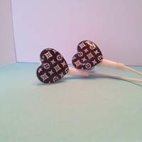 Black Vuitton Heart  Earbuds
