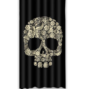 Hot Custom Skull in Floral Fashion Stylish Home Living Waterproof Bathroom Decor Shower Curtain 92x183cm FREE SHIPPING U9-132