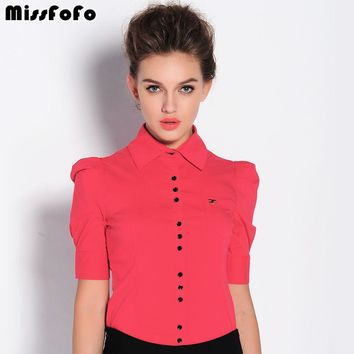 MissFoFo 2017 New Short Sleeve Button Solid Turn-down Collar Puff Sleeve Women's OL Shirt Slim big size shirt Size S-XXXL