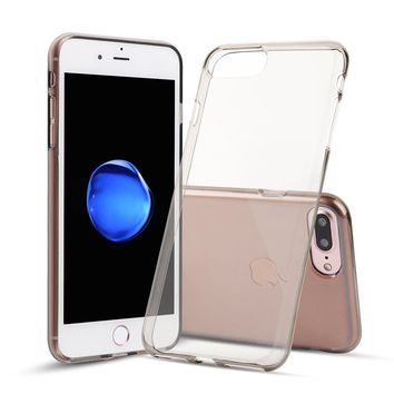 iPhone 7 Plus and iPhone 8 Plus Case TPU Rubber Transparent Silicone Shockproof Gray