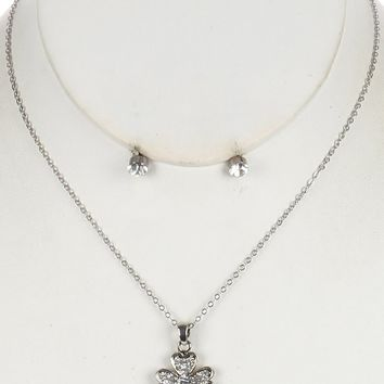 Cubic Zirconia Four Leaf Clover Charm Surgical Steel Link Chain Necklace Earring Set