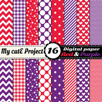Red and purple - Digital paper pack - Scrapbooking & graphic design - 12x12 - A4 - Polka dots, heart, chevron, stripes, gingham, stars