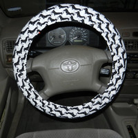 Black Dachshund Steering Wheel Cover