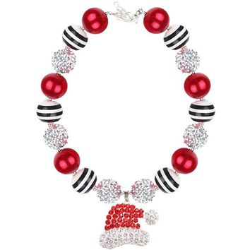 Santa Hat Necklace Red Silver Black Stripe Chunky Gumball