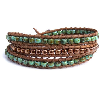 Turquoise Copper Brown Leather Triple Wrap Bracelet Mens Womens Rustic Boho Bohemian Chic