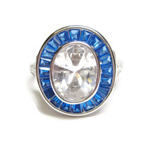 Art Deco Reproduction Blue Topaz Sterling Ring Size 7
