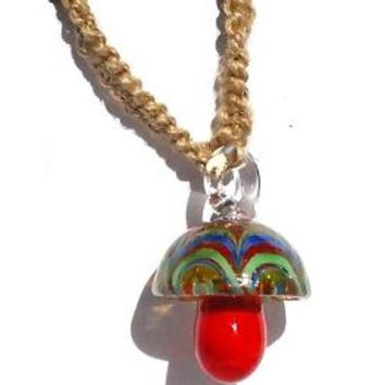 Best glass mushroom pendants products on wanelo hemp choker necklace with red glass mushroom pendant mozeypictures Images