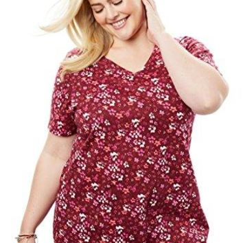 Womens Plus Size Perfect Printed VNeck Tee
