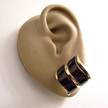 Avon Black Modern Drama Discs Pierced Stud Earrings Gold Vintage 1986 Thick Double Lucite Bars Smooth Accent Stripes Surgical Steel Posts