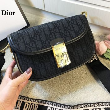 Dior New fashion more letter leather chain shoulder bag women Black