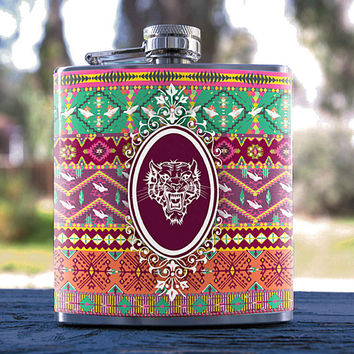 Round Mirror Tiger, Aztec/African Style, Best Hip Flask 6oz for Gifts, Weddings, Dance Clubs, Birthday, Bridesmaid, Groomsmen & more!