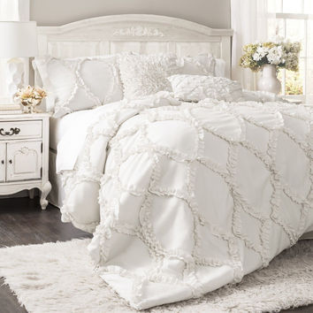 Lush Decor Avon 3-Piece Comforter Set King White