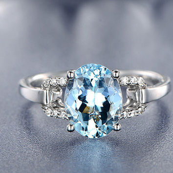 7x9mm Oval Aquamarine Engagement ring,VS Diamond wedding band,14K Gold,Gemstone Promise Ring,Bridal Ring,IF Blue Aquamarine,Floral Pave Set