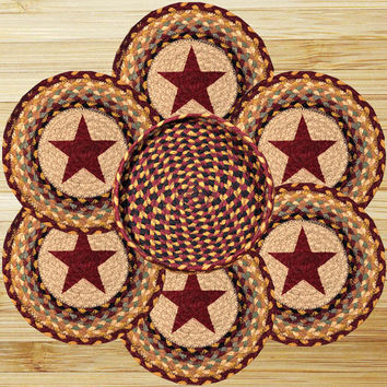 Burgundy Star Round Trivets in a Basket (Set of 7)