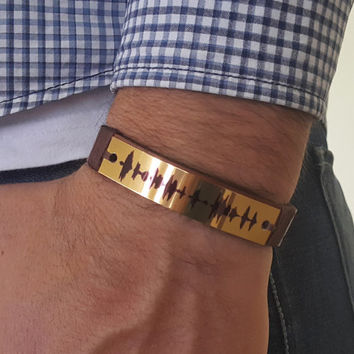 Sound Waves Bracelet, Personalized, Customized, Mens Womens Leather Bracelet, Customized, Polished Yellow Aluminum Plate, Voice Recording