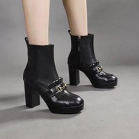 Gucci Trending Women Black Leather Side Zip Ankle high heels Boots Shoes Best Quality